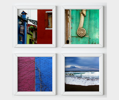Colorful living collection, 4 square prints