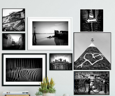 Black and white collection, 8 prints in mixed sizes