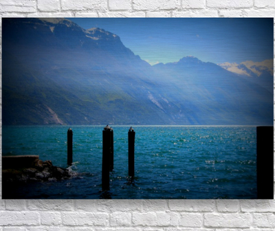 Light on the Lake, aluminum metal wall art, Italy art, ready to hang