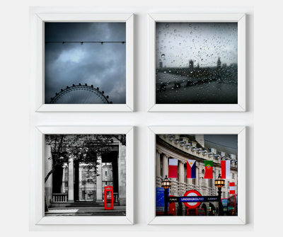 London Vibes collection, 4 square prints