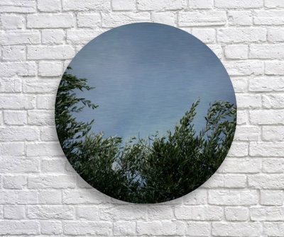 Gli Olivi di Armando, brushed aluminum metal disk, ready to hang, Puglia